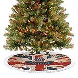 Homesonne Falda de árbol vintage maleta de viaje con cinta de Londres y corona, decoración de Navidad, supersuave y atractiva para los ojos, azul oscuro, rojo y marrón, 92 cm