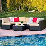 Best Choice Products 7-Piece Modular Outdoor Sectional Wicker Patio Furniture Conversation Set w/Cover, Seat Clips, 6 Chairs, Coffee Table - Black