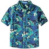 SSLR Chemise Hawaiien Garçon Manche Courte Casual Cocotier (X-Small (7-8 Ans), Noir Bleu)