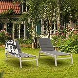 blumfeldt Renazzo Lounge Liegestuhl Sonnenliege Gartenliege Liegefläche weiß grau - 5