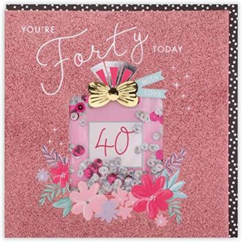 Clintons: Bling Perfume Bottle - 40th, 40th Milestone Birthday Greetings Card, 159x159mm, multi-color