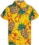 King Kameha Funky Chemise Hawaienne, Manche Courte, Pineapple Hibiscus, Jaune, S