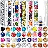 5 Cajas 12660 Pegatina Uñas de Diamantes Mariposa Remaches de Uñas, 12 Láminas de Escamas, 12...