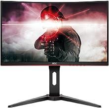 "AOC C24G1 24"" Curved Frameless Gaming Monitor, FHD 1080p, 1500R VA panel, 1ms 144Hz,.."