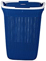 Material:Plastic, Color:Blue Package Contents: 1 Laundry basket with Lid Size: 33x42x46 (WxLxH)cm This classical design basket has comfortable grip with sturdy base and lid Ideal for 2 - 3 people clothes Has air vents to keep clothes odor free and is...