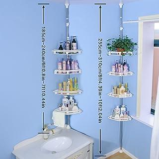 BAOYOUNI Bathroom Shower Storage Corner Caddy Tension Pole, 4-Tier Bathtub Caddies Shelf..