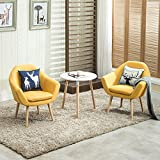 Magshion Set of 2 Upholstered Fabric Club Chairs W/ 2 Free Pillows Yellow, Small