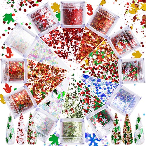 12 Boxes Christmas Nail Art Sequins Holographic Nail Glitter, Laser Snowflake Christmas Tree Star 3D Flakes Nail Decorations Chunky Glitter Stickers Decals