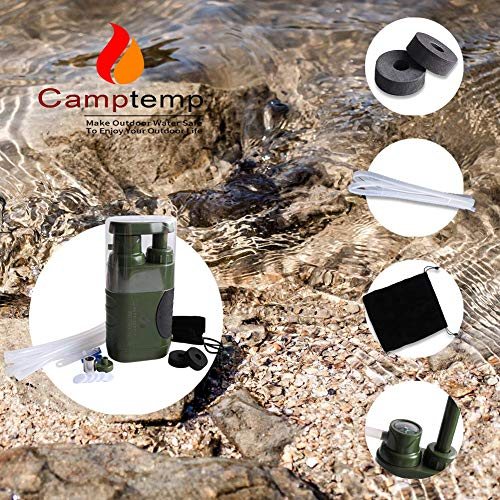 Product Image 7: Portable Water Purifier Pump with Replaceable Carbon Water Filter,Water Filter Purifier Hand Operat Pump Purification System for Backpacking Survival Camping Hiking Emergency Disaster for Home&Outdoor