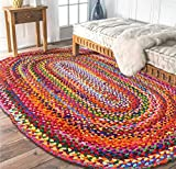 High Street Cotton Chindi Area RugMat Collection - Reversible Braided Weave Modern Bohemian Style Handmade Area Rug for Kitchen, Dining Room Cotton Oval (3' x 5 ')