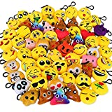 Dreampark Emoji Keychain Mini Cute Plush Pillows, Party Favors for Kids Christmas / Birthday Party Supplies, Emoticon Gifts Toys Carnival Prizes for Kids School Classroom Rewards (64 Pack)