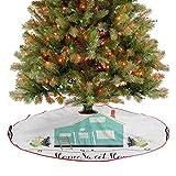 Falda de árbol pequeña casa en el campo, temática rústica, hojas de helecho, marco de garabatos, adornos de Navidad para decoración de fiesta de Navidad, multicolor, 91 cm