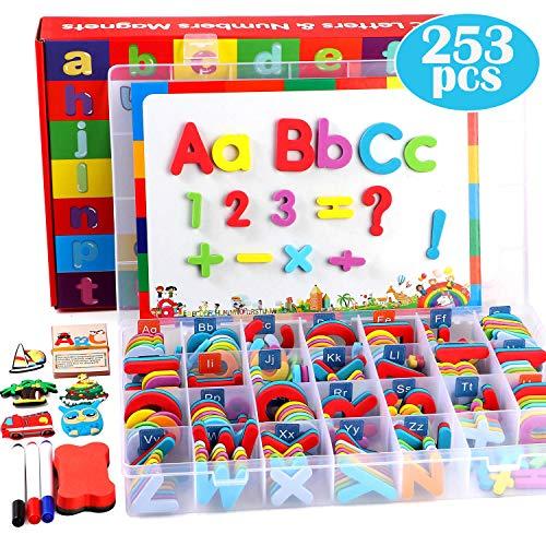 Lewo 253 PCS Lettere Magnetiche Puzzle con Lavagna Magnetica e Scatola di Immagazzinaggio Schiuma Alphabet ABC Magneti per Il Frigorifero Giocattoli Educativi per Bambini