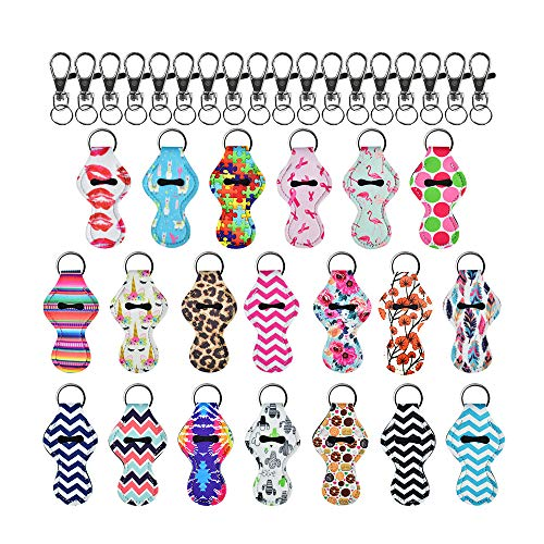 DKAF 20 Pieces Chapstick Holder Keychains with 20 Pcs Metal Keychains, Lipstick Holder Keychains Chapstick Keyring Holder Travel Accessories-A