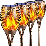 TomCare Solar Lights Outdoor 99 LED Flickering Flame Solar Torch Lights 43' Decorative Waterproof Solar Powered Pathway Lights Landscape Lighting Auto On/Off for Garden Patio Yard, 4Pack (Bronze)