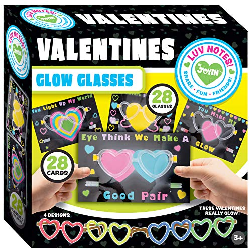 JOYIN 28 Packs Valentines Day Gifts Cards, Valentine's Greeting Cards for Kids with Heart Shaped Glasses and Light-up Glow Sticks Valentine Classroom Exchange Party Favor Toy