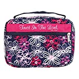 Pink Floral Trust Him Quilted 10.25 x 7.25 Fabric Zippered Bible Cover Case Handle, Large