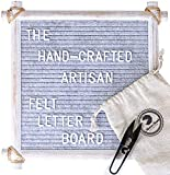 Hand Crafted Felt Letter Board | Unique Design with Rustic Wood & Rope | Artisan Vintage Frame + Back Stand | 12x12 Inch Antique Changeable Message Board 350 White Alphabet Letters, Numbers & Emojis (Office Product)