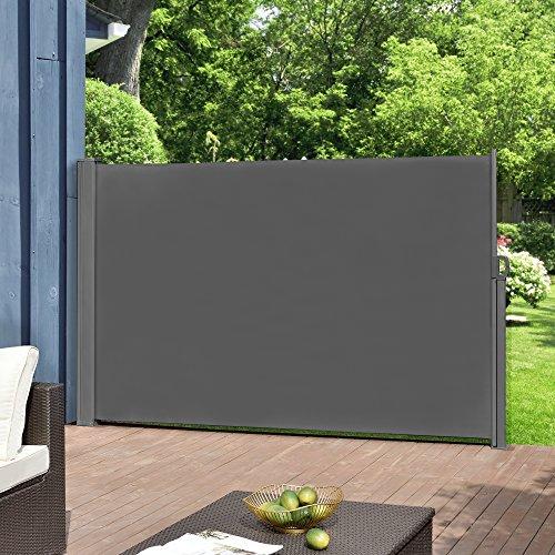 [pro.tec] Seitenmarkise 160 x 300 cm Grau Witterungsbeständig Sichtschutz Markise Sonnen- & Windschutz