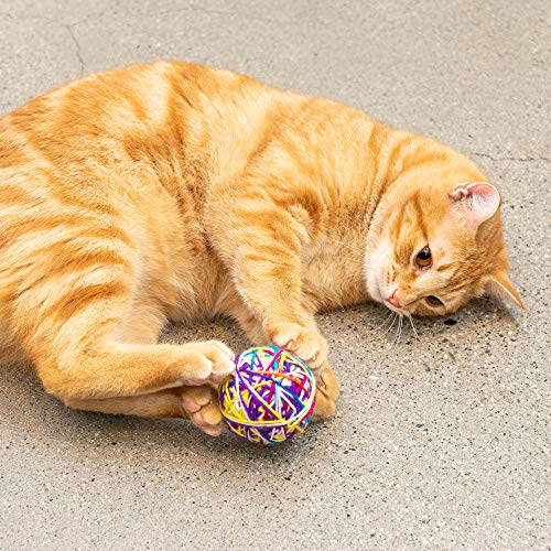 Pet Craft Supply Yowlin' Yarn - Multi Color Yarn Balls with Rattle Cat Toys, Two Pack