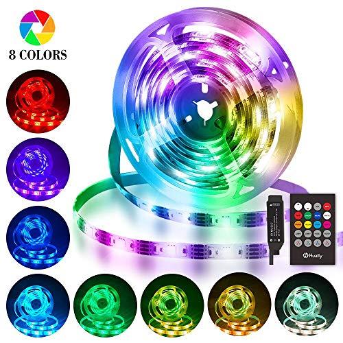 LED Streifen 3M, Hually USB LED Strip Wasserdicht LED Band RGBW mit Fernbedienung, LED Leiste Lichtband mit 8 Farbwechsel, Musik synchronisieren, 4 Modi, Verstellbare Helligkeiten für Haus, Party usw.