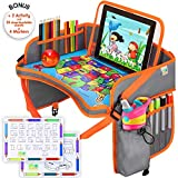 US Design Kids Car Seat Travel Tray - Car Seat Tray Organizer - Large Tablet & Cup Holder - Waterproof Food & Snack Kids Lap Tray Table - Kids Travel Activities - Toddler Travel Carseat Table Tray