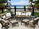 Heritage Outdoor Living Cast Aluminum Elisabeth Outdoor Patio 9pc Deep Seating Set - Includes (2) Ottoman, (2) End Tables, (1) Sofa, (1) Loveseat, (1) Club Chair, (1) Swivel Rocker Club, (1) Coffee Table, Seat & Back Cushions, Throw Pillows Sold Seprately - Antique Bronze Finish