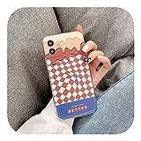 Ljhhg 人気度 レトロな甘いチョコレートチーズチェック柄アートfor iphone11用電話ケース12Pro……