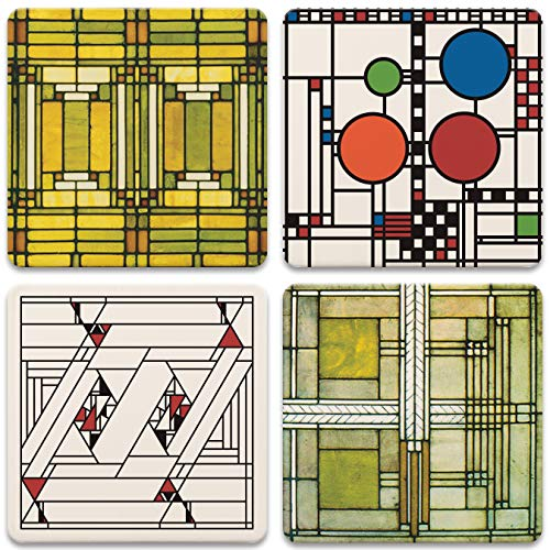 CoasterStone Absorbent Stone Coasters, Frank Lloyd Wright, Art Glass Designs, Multi-Colored