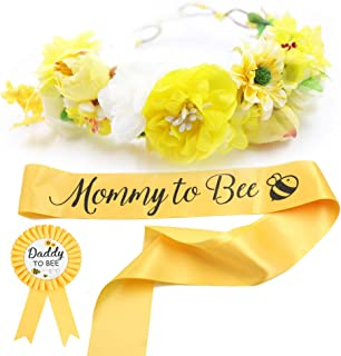 Baby Shower Mom to Bee Sash & Flower Crown & Daddy to Bee Pin Kit – What..