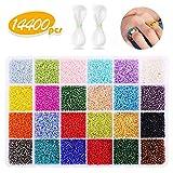 KIPIDA Pony Beads for Bracelets, 7200 Pcs Pony Seed Beads Set 24 Colors Small Glass...