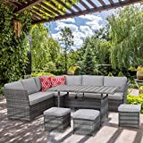 Aoxun 7 Piece Outdoor Furniture Set,PE Hand-Woven Rattan Wicker Sofa Set, Patio Sectional with Dining Table and Cushions & Red Pillows, Gray