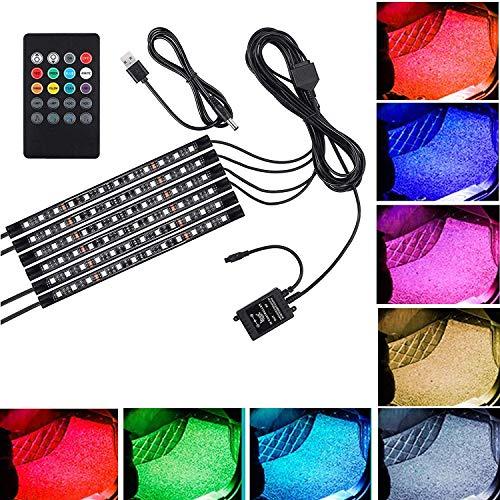 Justech 6 Pezzi 72 LED Auto Strisce Luce Interni Auto Neon 6x12 LED Multicolore Luci Dimmerabili 12V RGB Illuminazione Atmosfera Decorazione SMD Impermeabile con Controllo Musica Wireless - USB Porta