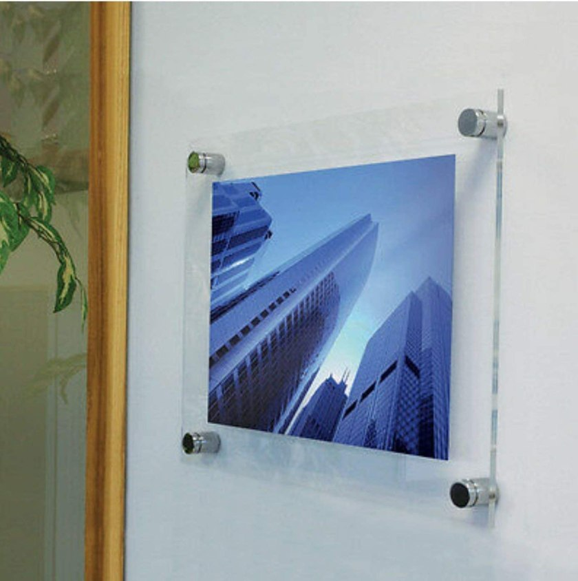 """Amazon.com - Acrylic Wall Mount Frameless Floating Frames 13"""" X 16"""" for Pictures, Diplomas or Posters Up to 11"""" X 14"""" -"""