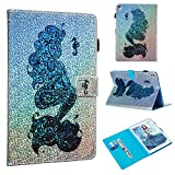 Folice iPad Pro 9.7 Case, Folice Glitter Bling Kickstand Leather with Magnetic Cover for Apple iPad 7th / Apple iPad Pro 9.7 Inch 2016 (Mermaid with Seahorse)