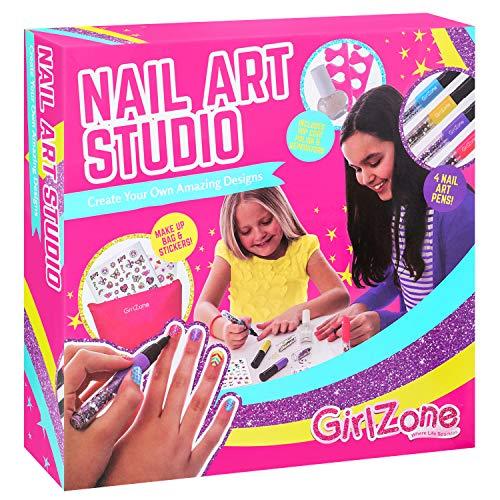 GirlZone Nail Art Studio Set, Nail Art Stickers, 3 Nail Salon Pens and Makeup Bag, Great Birthday Gift for Girls