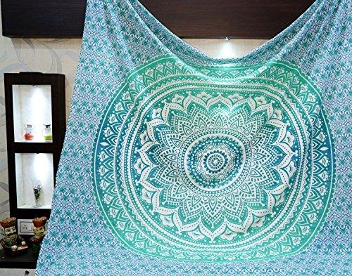 Tapestry regina verde Ombre Hippie Arazzo Mandala Bohemian psichedelico intricato indiano copriletto...