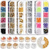 Teenitor Professional Nail Kit with 6 boxes Nail Art Rhinestones& 1 box nail foil chip, Multi-size Gems Metal Nail Rivets Studs Double-sided Color Nail Art Foil Pailette Chip Foil flake