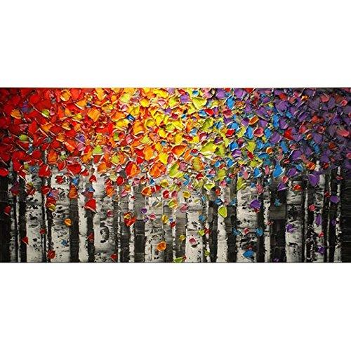 Orlco Art - Dipinto a mano con petali di ciliegio blu e albero blu, grande, arte astratta da parete,...