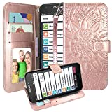for GreatCall Jitterbug Smart2, Harryshell Kickstand Flip PU Leather Protective Wallet Case Cover with Card Slots Wrist Strap for Jitterbug Smart 2 (Rose Gold)