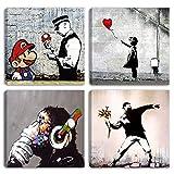 Degona - Cuadros modernos Banksy - 4 unidades de 30 x 30 cm cada una Impreso sobre lienzo, arte...