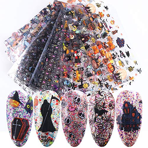 Halloween Nail Transfer Sticker Day of the Dead Nail Decals Fall Nail Foil Pumpkin Witch Skull Vampire Slider Design Full Wrap Nail Decals Polish Strips Holographic Foils Paper 10pcs/Set