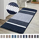 Super Cozy Shag Chenille Bath Rug, Gradient Navy Stripe Pattern Machine Washable Microfiber Plush Bathmat, Ultra Absorbent Mat with Non Slip Backing for Bathroom Landry, (47×17 inch, Navy)