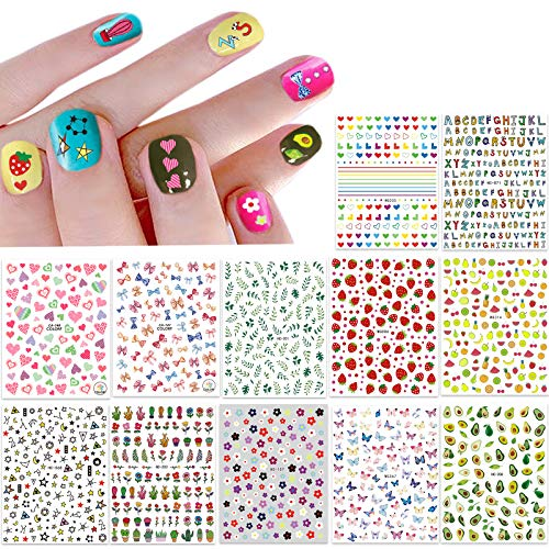 New 12 Large Sheets of Cute Nail Stickers for Women and Teen Girls - Self Adhesive Nail Decals for Nail Art Decoration Including Hearts Stars Letters Bowknot Leaves Flowers Plants Fruits Butterflies for Woman and Teen Girl