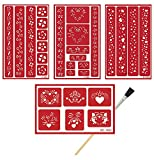 4 Armour Etch Over N Over Reusable Glass Etching Stencils | Heart, Floral, Star, Circle Borders and Patterns Theme Stencil | Set Includes Brush, Total 5 Items