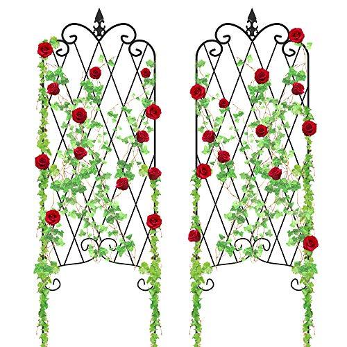 "Amagabeli Garden Trellis for Climbing Plants 47"" x 16"" Rustproof Black Iron Plant Trellis Potted Vines Vegetables Flowers Patio Metal Wire Lattices Grid Panels for Ivy Cucumbers Clematis 2 Pack GT03"