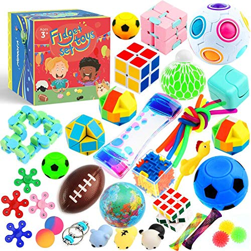 Sensory Toys Set 38 Pack, Stress Relief Fidget Hand Toys for...