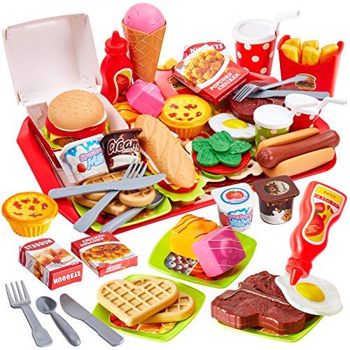 Buyger 63 Pezzi Cucina Cibo Bambini Giocattolo con Pizza Hamburger Gelati, Gioco Accessori Cucina Alimenti Giochi Bambini 3 Anni