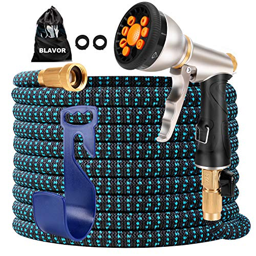 BLAVOR Expandable Garden Hose 50ft,Strongest Expanding 3750D,Flexible and Durable 4-Layers Latex Water Hose with 10-Way Heavy Duty Zinc Water Spray Nozzle,Solid Brass Fittings