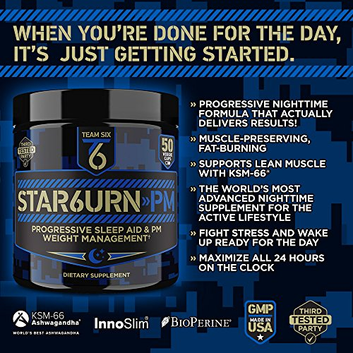 T6 STAR6URN-PM – Fat Burner and Sleep Aid for Muscle-Preserving Weight Loss and Stress Relief, Green Coffee Bean and Garcinia Cambogia Extract, 50 veggie caps 2